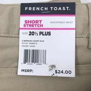 Women's plus size khaki shorts.